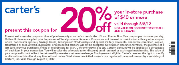 20% off $40 or more Use Carters Coupon
