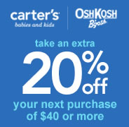 Take an extra 20% off your next purchase of $40 or more. Excludes clearance. Shop now.