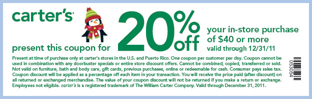 Carters Coupon June 2019 20% off $40+ at Carters all year