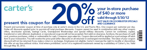Present this coupon for 20% off your in-store purchase of $40 or more, valid through 5/30/12. Not valid on doorbuster specials and clearance. Code: 056532.