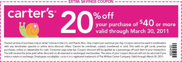 20% off your purchase of $40 or more. Valid through March 30, 2011. Code: 054589.